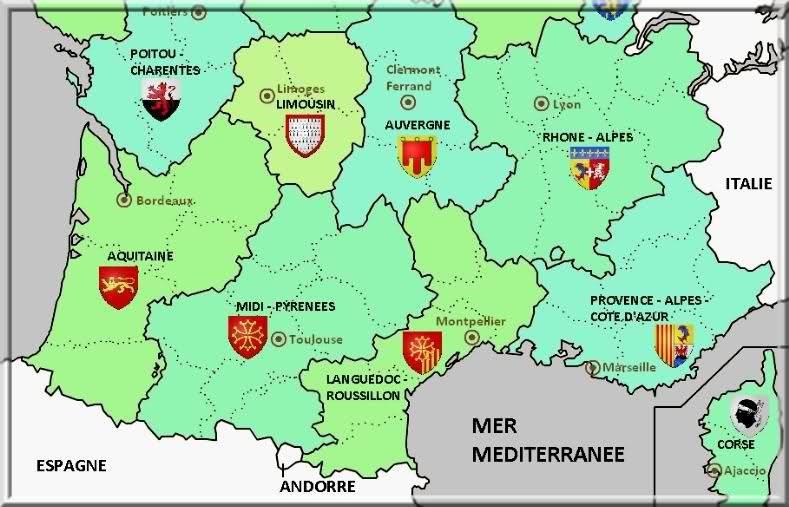 carte des regions du sud,la provence,le sud de la france